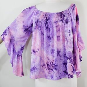Entro Tie Dye flare sleeves babydoll top blouse S